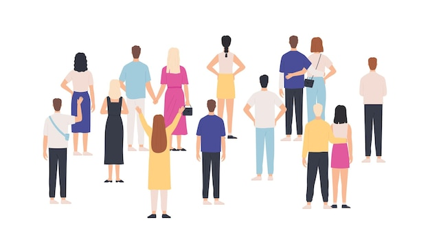 Crowd standing back view. group of people from behind. men and women meeting and looking. gathering public, team or audience vector concept. crowd woman and man, back illustration