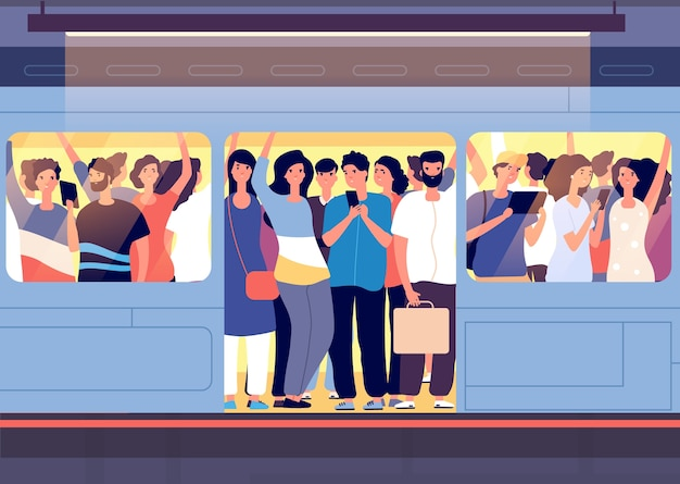 Crowd in subway train