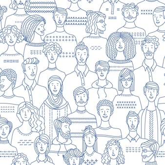 Crowd of various men and women in linear style