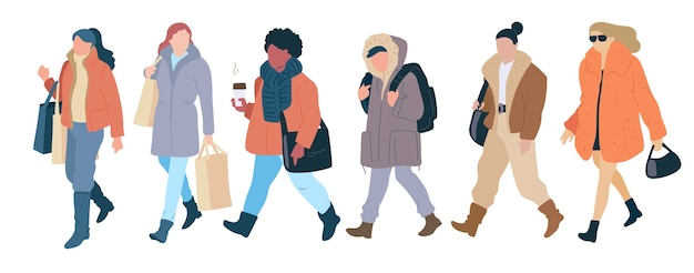 カジュアルな秋の服のモダンなストリートスタイルの群衆を歩く女性。平らなイラストを設定します