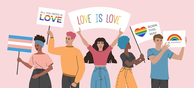 Crowd of young people holding posters, signs and flags with lgbt symbols and rainbows, group of gay, bisexual and lesbian, activism against discrimination illustration in flat cartoon style.