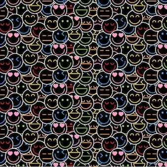 Crowded of neon emoticons pattern template