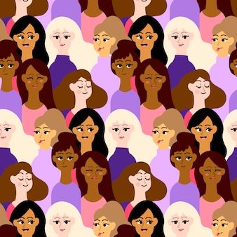 Crowded pattern place with women faces