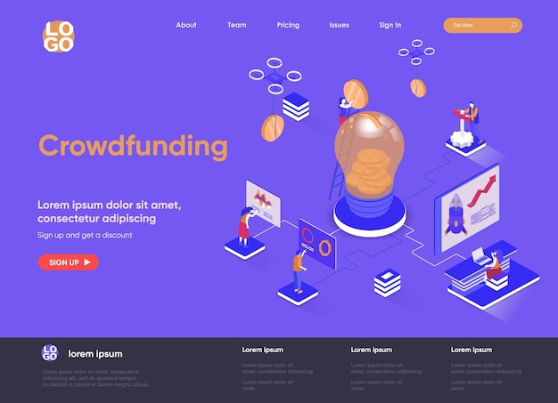 Crowdfunding 3d isometric landing page website   illustration with people characters