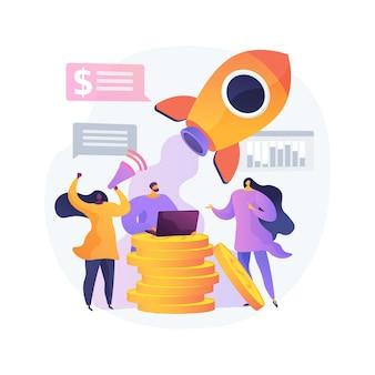 クラウドファンディングの抽象的な概念のベクトル図です。クラウドソーシングプロジェクト、代替資金調達、インターネットでの資金調達、資金調達プラットフォーム、寄付の収集、ビジネスベンチャーの抽象的なメタファー。