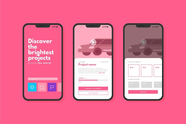 Crowdfunding app interface concept