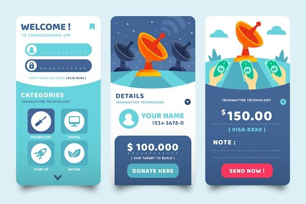 Schermate delle app di crowdfunding