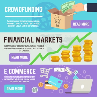 Crowdfunding banners. business banking, e commerce and financial markets vector concepts