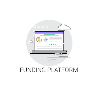 Crowdfunding business funding platform concept icon