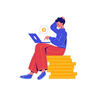 Crowdfunding composition with doodle character sitting on stack of coins with laptop illustration