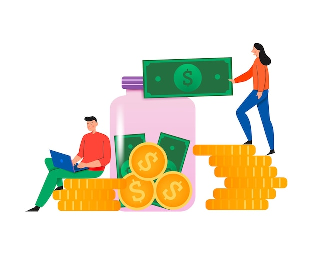 Crowdfunding composition with flat illustration of coin stacks and glass can with people and banknotes