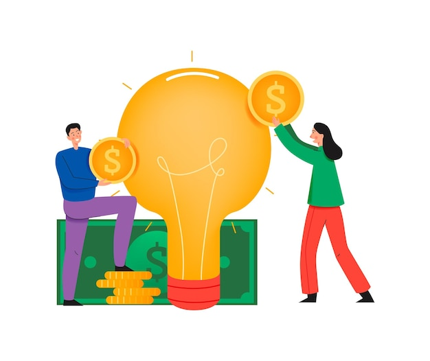 Crowdfunding composition with flat illustration of idea lamp cash and people holding coins