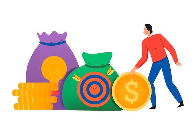 コインスタックとターゲットサイン付きのお金の袋のフラットなイラストとクラウドファンディングの構成