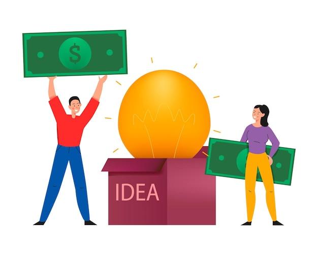 アイデアボックス内のランプと紙幣を持つ人々のフラットなイラストとクラウドファンディングの構成