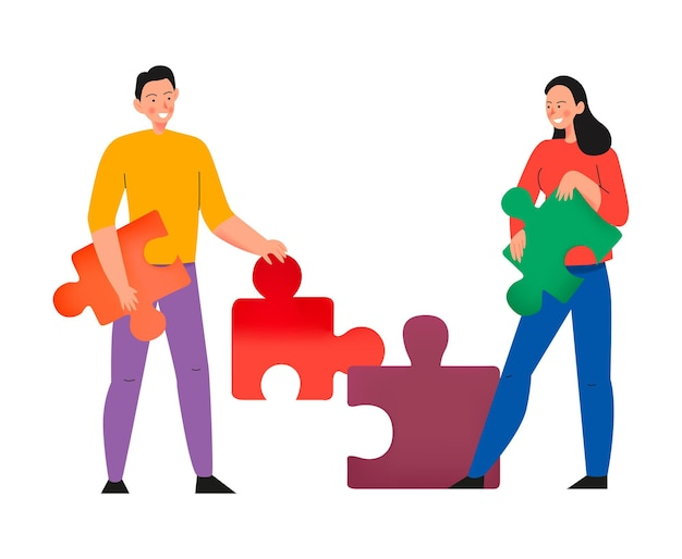 Crowdfunding composition with flat illustration of puzzle pieces held by male and female characters