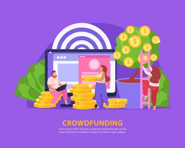 Crowdfunding composition with people collecting money for startup on blue
