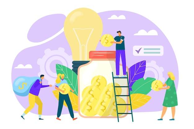 Crowdfunding concept in flat style illustration