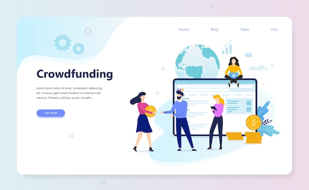 Crowdfunding concept. idea of raising money for business
