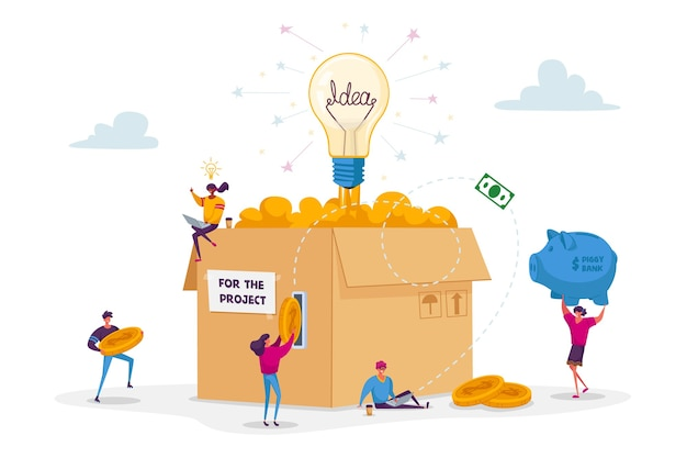 Crowdfunding concept. tiny people insert golden coins to huge carton box with glowing light bulb.
