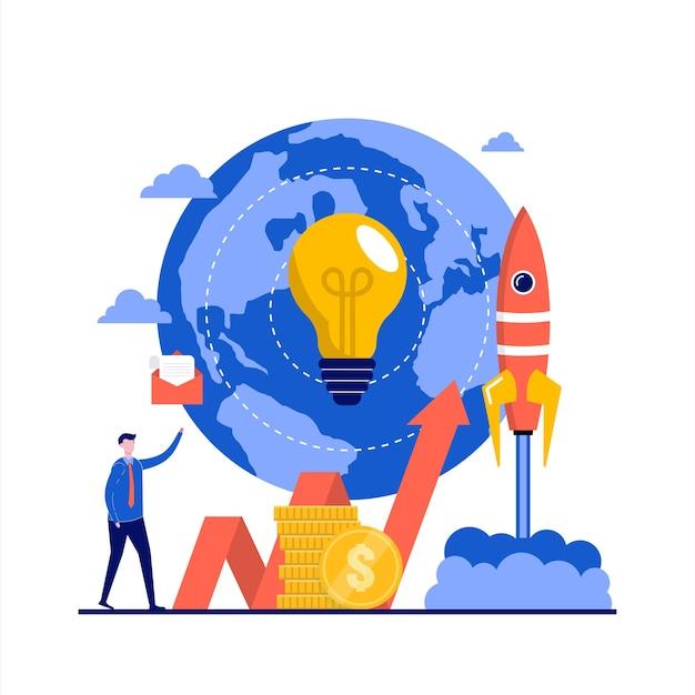 캐릭터와 크라우드 펀딩 개념. 아이디어 또는 사업 시작에 투자, 온라인 금융 투자. 방문 페이지, 모바일 앱, 전단지, 웹 배너, 인포 그래픽, 영웅 이미지에 대한 현대적인 평면 스타일.
