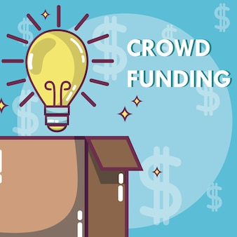 Crowdfunding donations and investment concept
