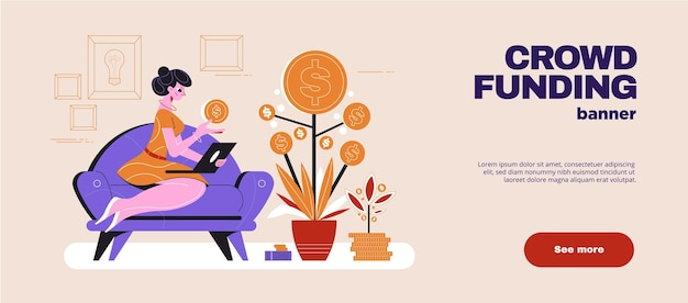 金のなる木の図の横にラップトップとソファの上の女性とクラウドファンディングフラット水平ウェブバナー