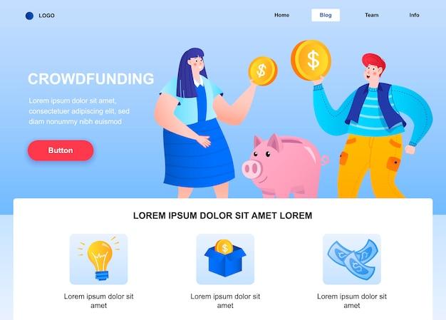 크라우드 펀딩 플랫 랜딩 페이지. 돼지 저금통 웹 페이지에 돈을 투자하는 후원자.