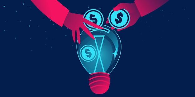 Краудфандинг, сбор средств, пожертвование или спонсорство бизнес-концепции с лампочкой в виде банки для денег