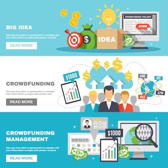Crowdfunding horizontal banners