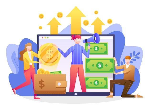 クラウドファンディングのイラスト、資金提供を受ける非営利のアイデアを宣伝する人々。