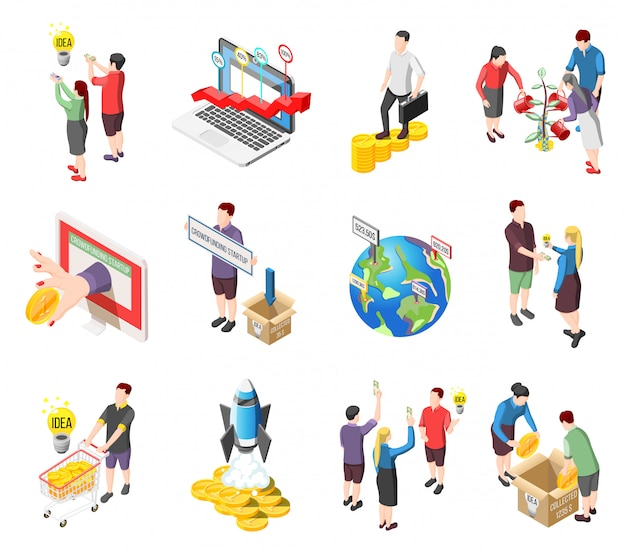 Crowdfunding isometric icons and characters set