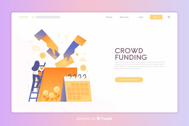 Crowdfunding landing page