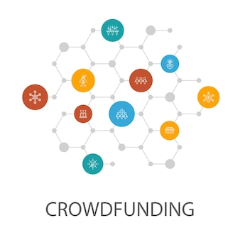 Crowdfunding presentation template, cover layout and infographics startup, product launch, funding platform, community icons