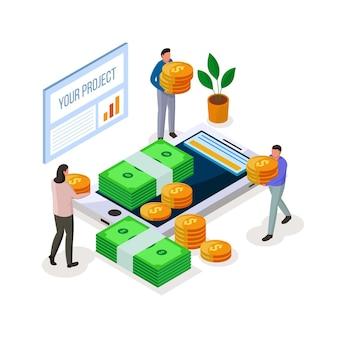 Crowdfunding project isometric illustration