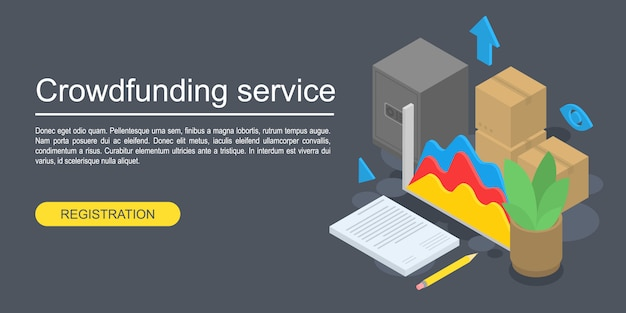 Crowdfunding service concept banner, isometric style
