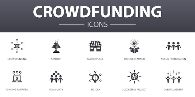 Crowdfunding simple concept icons set. contains such icons as startup, product launch, funding platform, community and more, can be used for web, logo, ui/ux