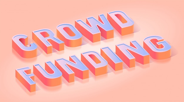 Crowdfunding text title isometric