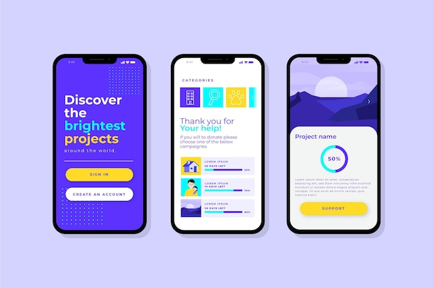 Crowdfunding концепция интерфейса приложения
