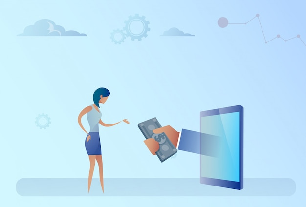 Бизнес женщина получает деньги от цифрового планшета crowdfunding инвестиционная концепция
