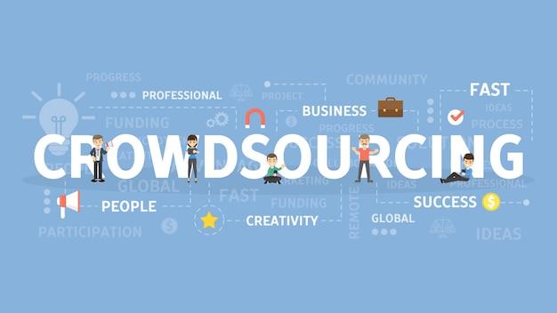 クラウドソーシングの概念図。人のアイデアと世界的な成功。