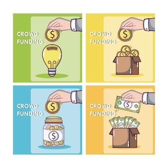 크로우 펀딩 및 비즈니스 사각 프레임
