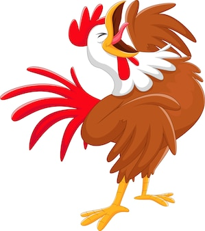 幸せな漫画の鶏crowing