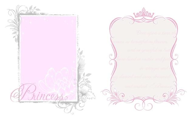 Корона и элегантная рамка с дизайном темы принцессы