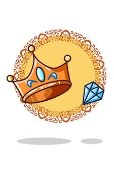 王冠と宝石のベクトル図