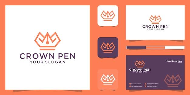 クラウンとペンの組み合わせロゴ、ラインスタイルと名刺のインスピレーション