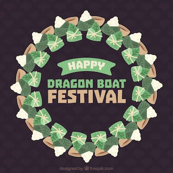 Crown background with traditional dragon boat festival meal