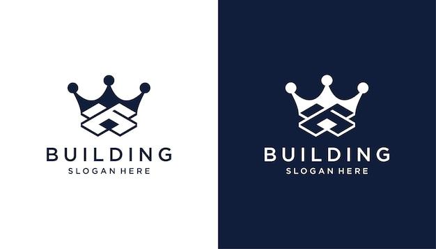 초기 b 초록이 있는 크라운 빌딩 로고 디자인