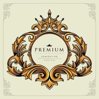 あなたの仕事のための王冠書道華やかな豪華なベクトルのイラストロゴ、マスコット商品のtシャツ、ステッカーとラベルのデザイン、ポスター、企業やブランドを宣伝するグリーティングカード。