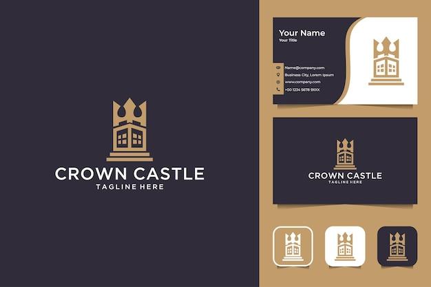 Корона замок дизайн логотипа и визитная карточка