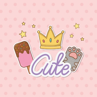Crown and cat paw stickers kawaii style